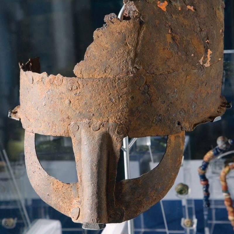 Viking Helmet on display at Preston Park Museum