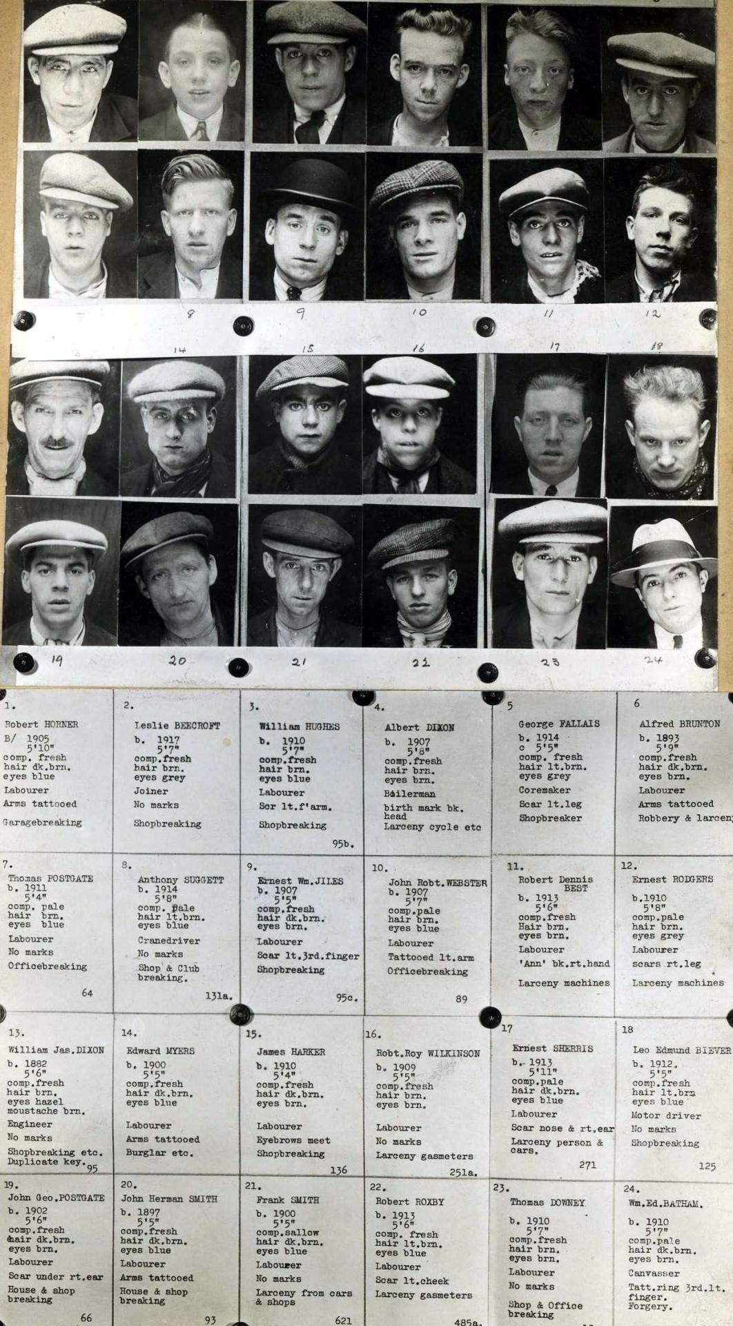 Black and white 1930's Mug Shot Book