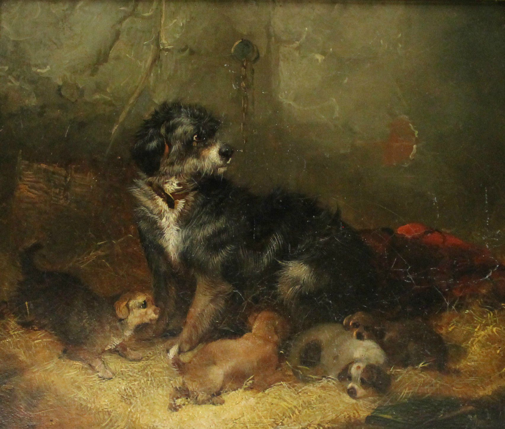 Painting of a small terrier and her pups lying in the straw, called Guarding her Puppies