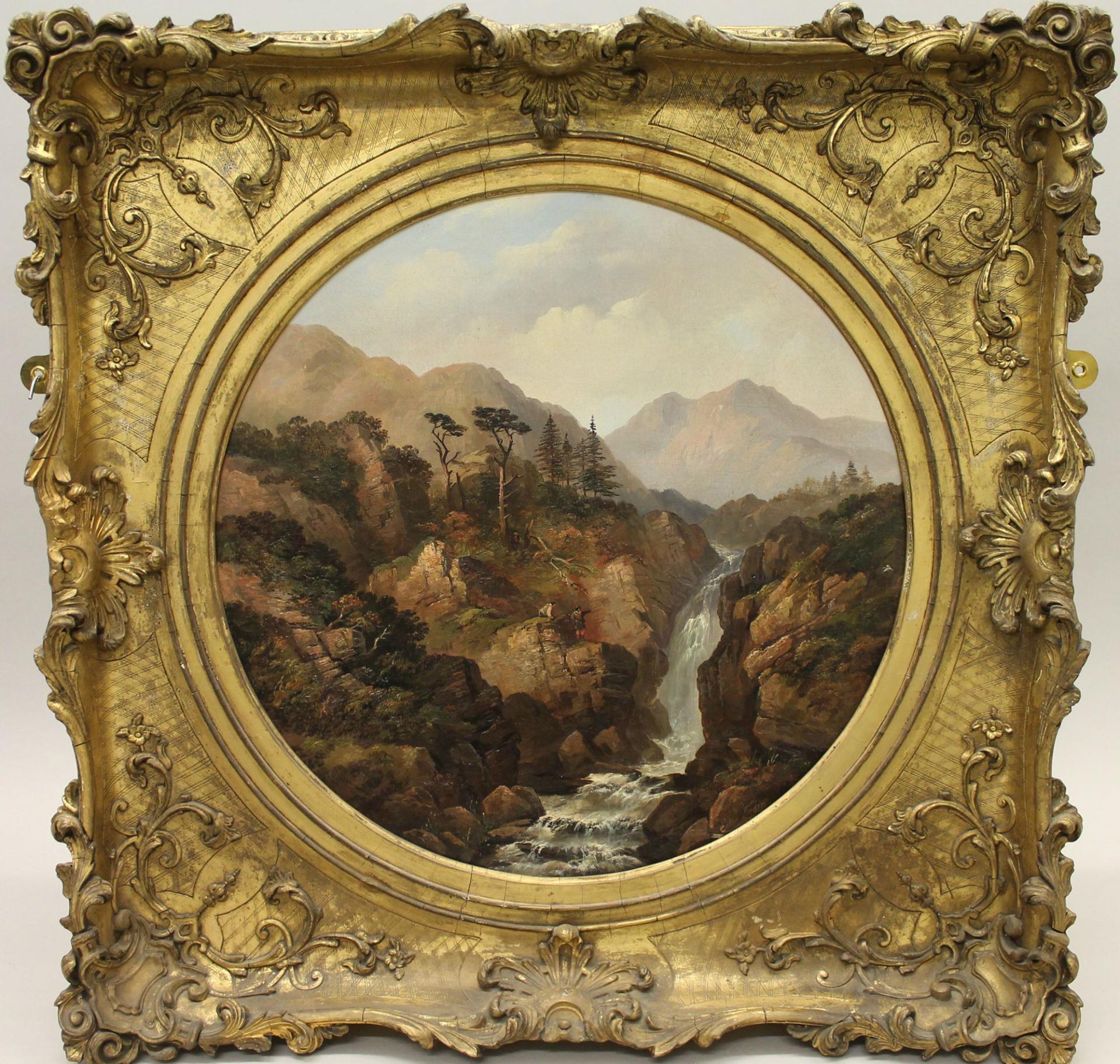 Gilt framed oil painting called Mountain Gully