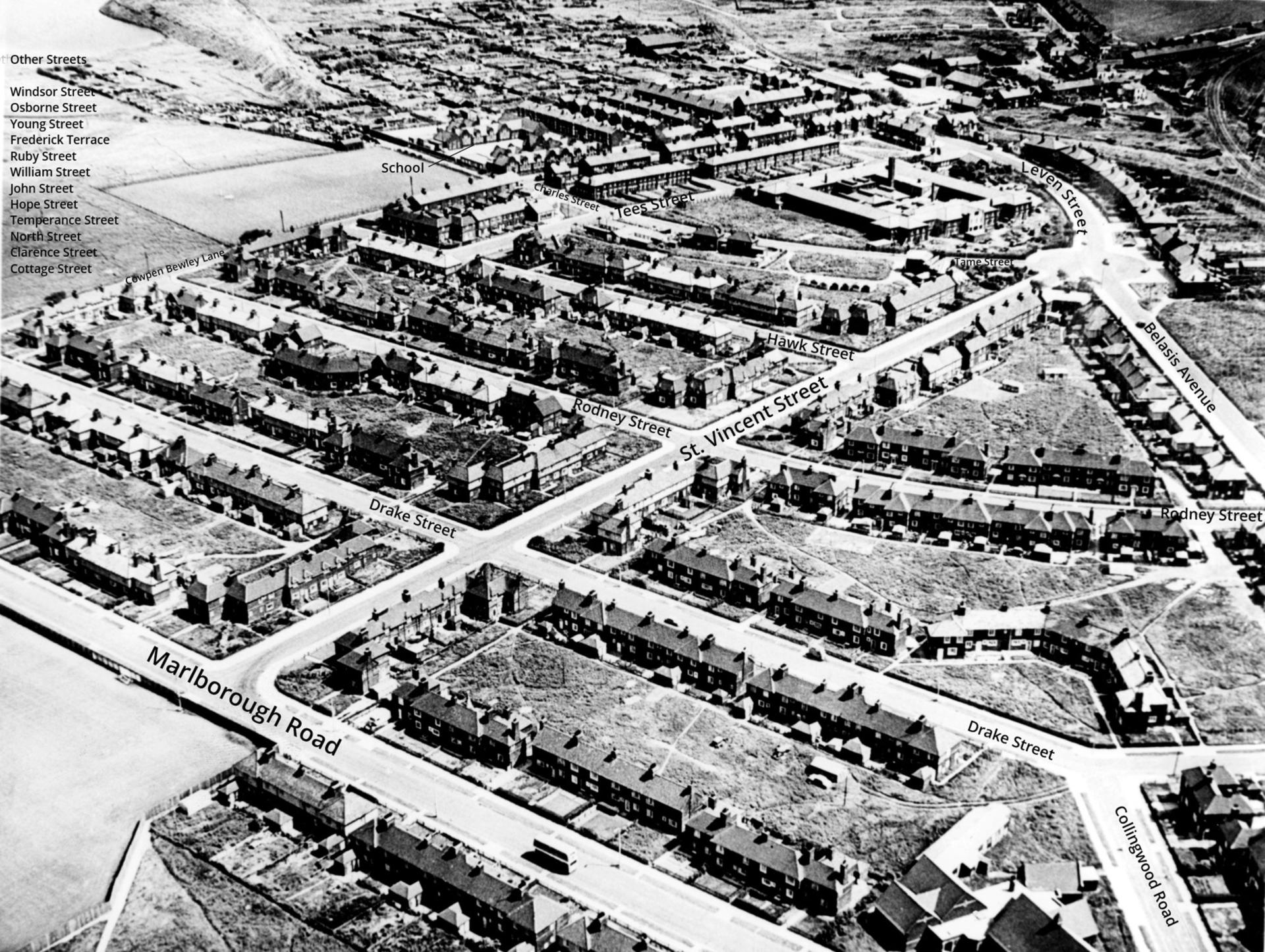 Black and white photo of Haverton Hill Aeriel View
