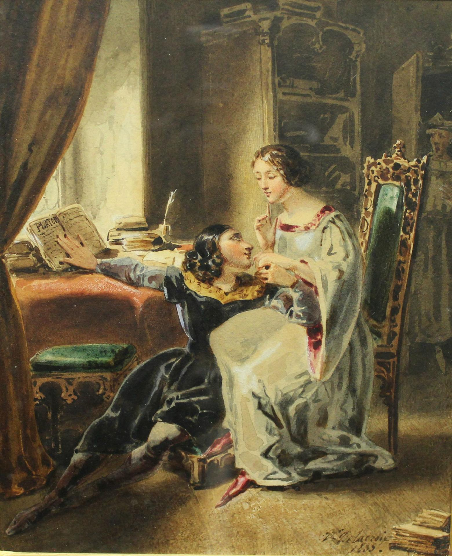 Watercolour shows the youth Abélard seated at the feet of Héloïse.