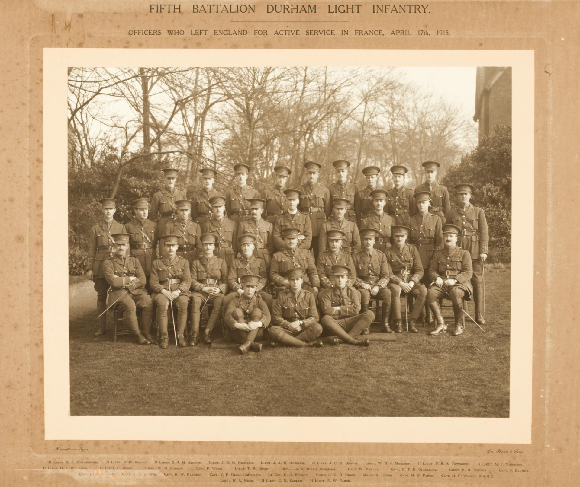 Black and white photograph of the 5th Durham Light Infantry