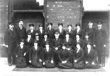 A black and white photo of the L.N.E.R. Stockton Staff