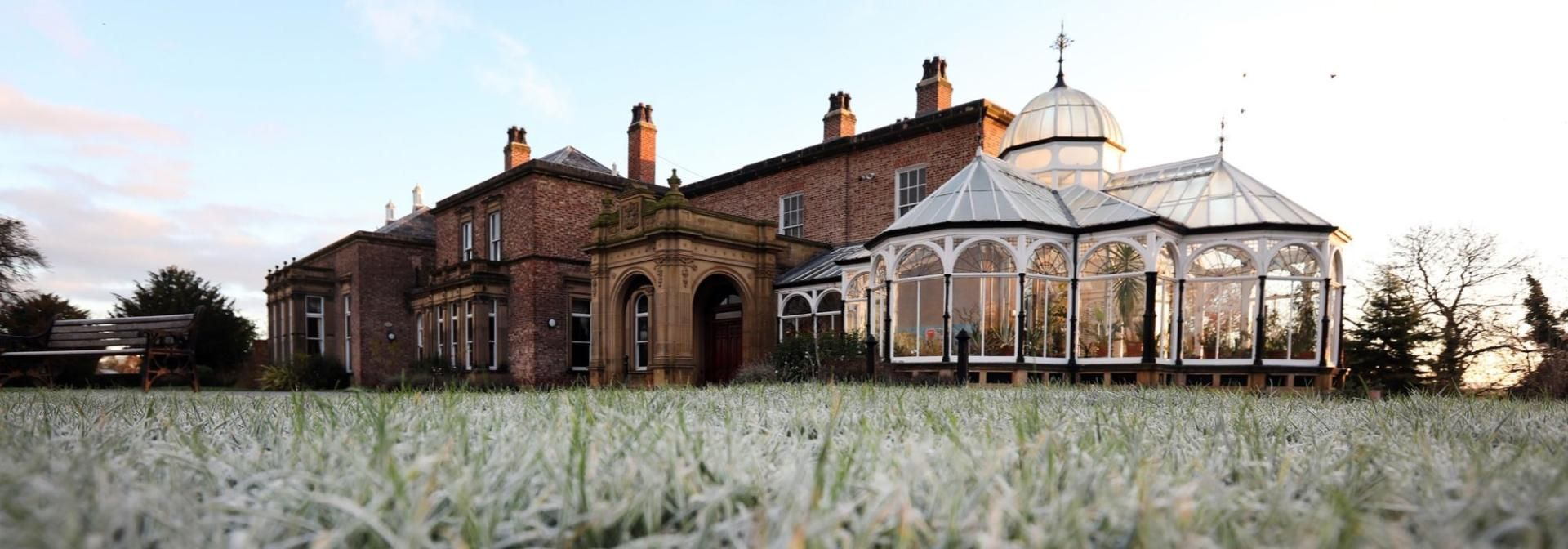 View Of The Hall And Winter Garden On A Frosty Day