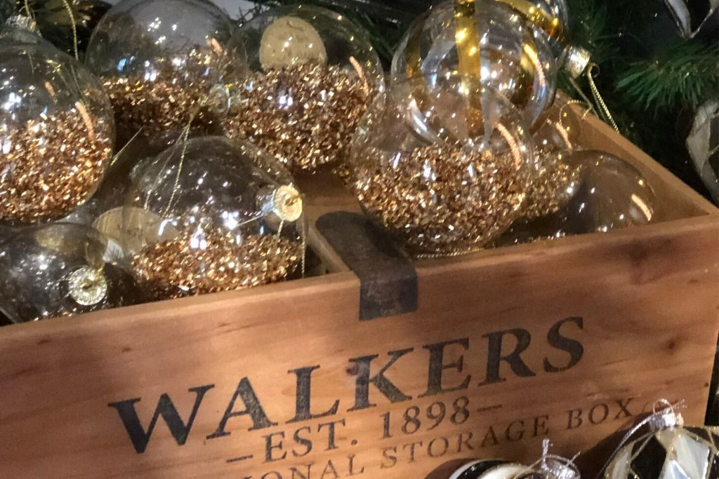Gold Sparkly Glass Baubles