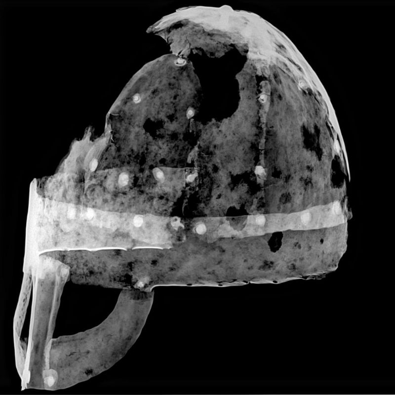 X Radiographs Of The Yarm Helmet, Showing The Rivets And Overlapping Plates Of The Composite Construction