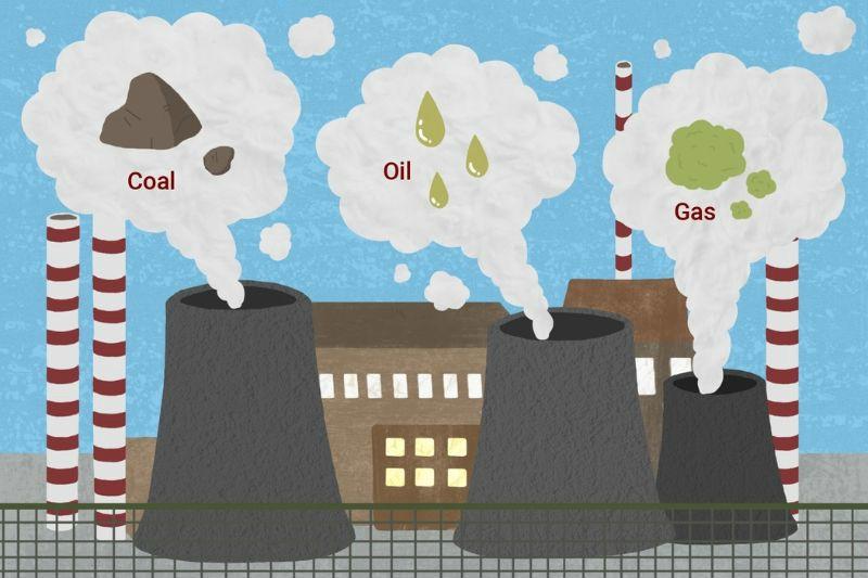 Illustration demonstrating fossil fuels
