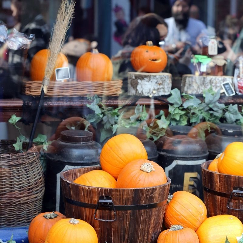 Autumn Display Of Pumpkins Outside The Grocers