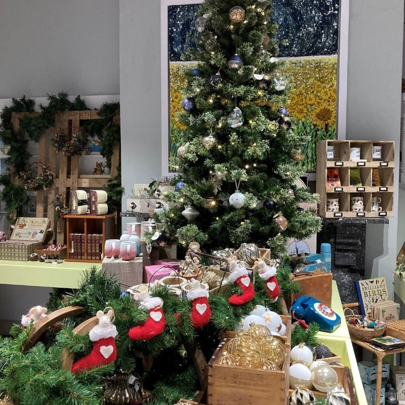 Christmas tree in Preston Park Museum's Gift Shop