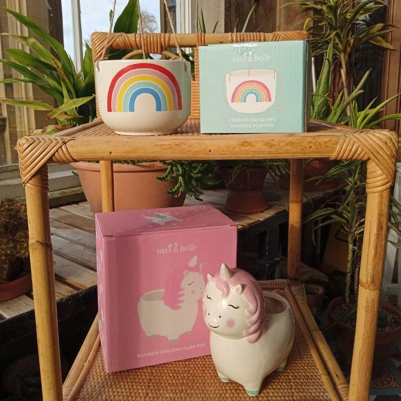 Novelty Planters, Rainbow And Unicorn