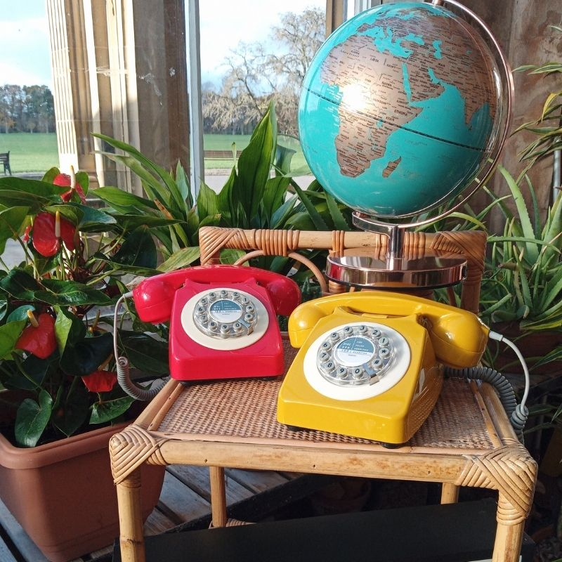Retro Telephone In Red And Mustard