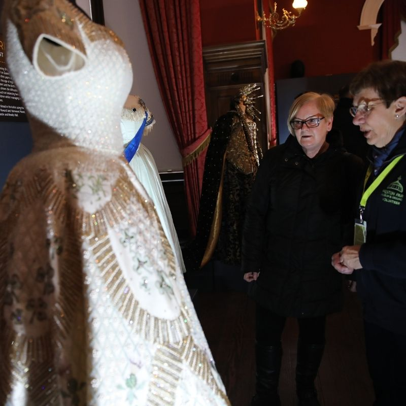 Dresses From The Crown On Display At Preston Park Museum